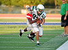 Carroll wide receiver 87 runs after a catch in the scrimmage against Duncanville last Friday night at Panther Stadium.