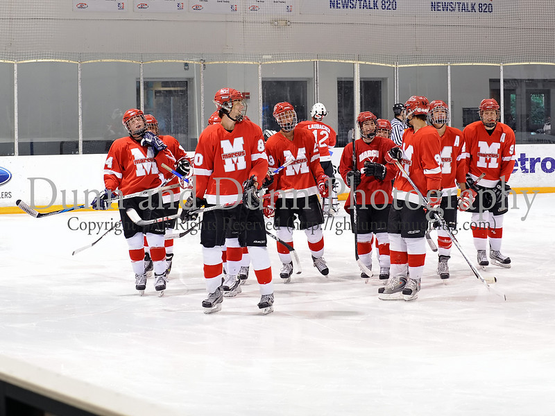 Marcus hockey team prior to the game against Carroll last Thursday night at the Dr. Pepper Starcenter in Euless.  Marcus lost the game 5-4 following a shootout after the teams tied in regulation.