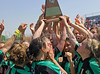 The Lady Dragons celebrate their win over Hebron in the regional final last Saturday afternoon at Pennington Field.