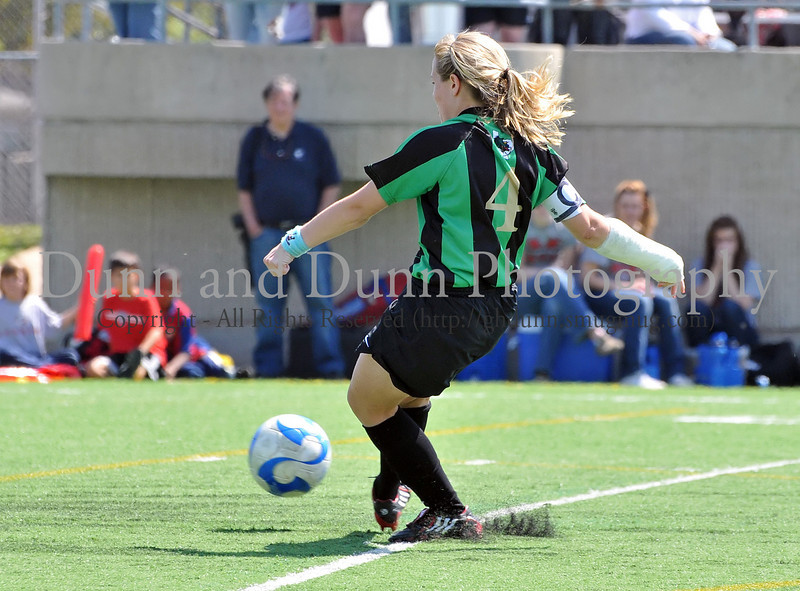 Carroll junior Lexis Learmonth kicks the winning goal in the shoot out at the end of the regional final against Hebron last Saturday afternoon at Pennington Field.