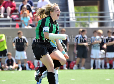 Carroll junior Lexis Learmonth celebrates her winning goal in the shoot out at the end of the regional final against Hebron last Saturday afternoon at Pennington Field.