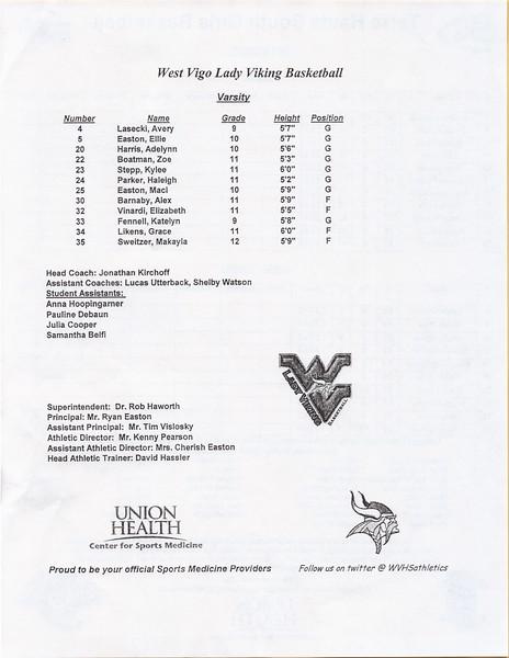West Vigo Girls Basketball 2019 Vikings