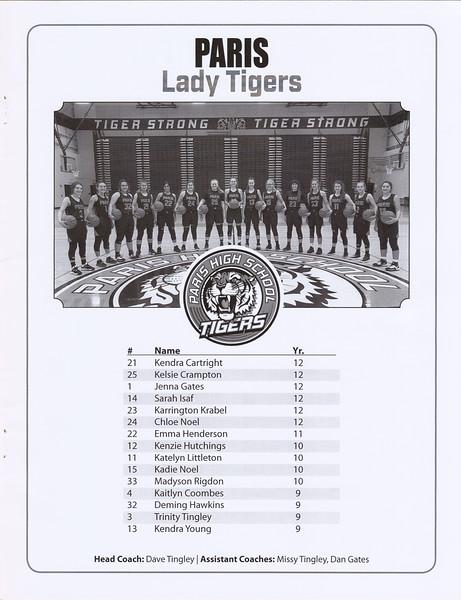 Paris Lady Girls Basketball 2019-20 Tigers