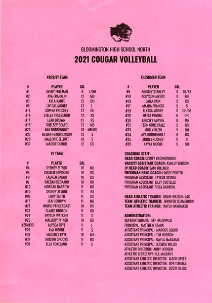 Bloomington North Volleyball 2021 Cougars
