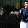 04/29/2010...Waldwick's first doubles Kevin Park with Dan Johnson fell 6-1, 6-1 to Joe Acosta and Mitch Rubiano of Glen Rock.<br /> PHOTO: KELLY BIRDSEYE