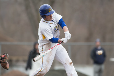 Wilcox Tech's Matt Ryan connects for a hit Friday at Legion Field in Meriden Apr. 8, 2016 | Justin Weekes / For the Record-Journal