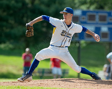Wilcox Tech's Zackary Golebiewski delivers a pitch Wednesday at Wilcox Tech in Meriden Jun. 1, 2016 | Justin Weekes / For the Record-Journal