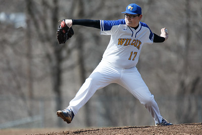 Wilcox Tech's Sean Dupuis delivers a pitch Saturday at Legion Field in Meriden April 7, 2018 | Justin Weekes / Special to the Record-Journal