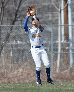 Wilcox Tech's Aaron Nieves catches a fly ball in center Saturday at Legion Field in Meriden April 7, 2018 | Justin Weekes / Special to the Record-Journal
