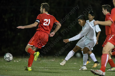 Wilcox Tech's Kelvin Cortez scores for the Indians putting them up 1 to 0 over University Saturday during the CTC conference championship at Cheney Tech in Manchester November 4, 2017 | Justin Weekes / For the Record-Journal