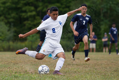 Wilcox Tech's Kelvin Cortez gets a shot off Monday at Wilcox Tech in Meriden September 18, 2017 | Justin Weekes / For the Record-Journal