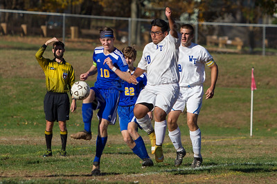 Wilcox Tech's Yael Cano wins the battle on a corner kick and lifts a shot for the Indians third goal Tuesday during the quarterfinal round in the CTC tournament at Wilcox Tech in Meriden October 31, 2017 | Justin Weekes / For the Record-Journal