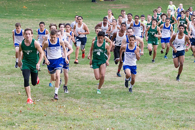 Maloney's Carter Autaya and Wilcox Tech's Chris Gill lead the start Tuesday at Hubbard Park in Merden Oct. 13, 2015 | Justin Weekes / For the Record-Journal