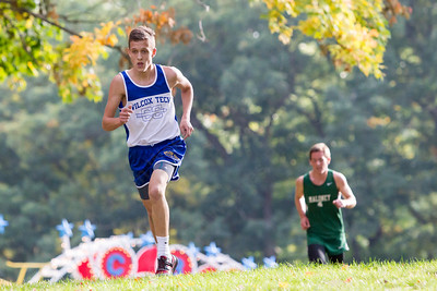 Wilcox Tech's Chris Gill takes control from Maloney's Carter Antaya Tuesday at Hubbard Park in Merden Oct. 13, 2015   Justin Weekes / For the Record-Journal
