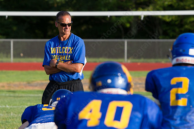Wilcox Tech's head coach Trevor Jones watches the offense run plays  Wednesday during a scrimmage at Haddam Killingworth in Higganum Aug. 24, 2016   Justin Weekes / For the Record-Journal