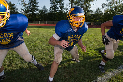 Wilcox Tech's Dawson Pelletier runs through a drill with the defensive line Wednesday during a scrimmage at Haddam Killingworth in Higganum Aug. 24, 2016 | Justin Weekes / For the Record-Journal