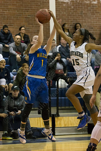Wilcox Tech's Samantha Petro gets blocked by Platt's Martha Chatman Tuesday at Platt High School in Meriden December 19, 2017 | Justin Weekes / For the Record-Journal