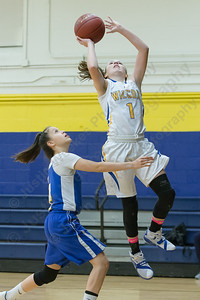 Wilcox Tech's Samantha Petro puts in a layup as Vinal Tech's Samantha Reyes guards Tuesday at Wilcox Tech High School in Meriden Jan. 3, 2017 | Justin Weekes / For the Record-Journal