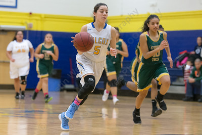 Wilcox Tech's Tatiana Gonzalez moves up court on a fast break Tuesday at Wilcox Tech in Meriden January 30, 2018 | Justin Weekes / Special to the Record-Journal