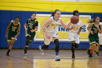 Wilcox Tech's Samantha Petro pushes up court on a fast break Tuesday at Wilcox Tech in Meriden January 30, 2018 | Justin Weekes / Special to the Record-Journal