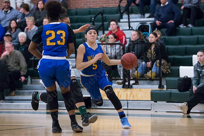 Wilcox Tech's Tatiana Gonzalez uses the pick Monday at Maloney High School in Meriden January 29, 2018 | Justin Weekes / Special to the Record-Journal