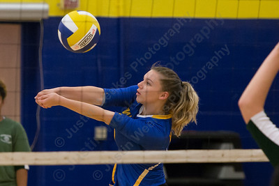 Wilcox Tech's Sara Morin plays a touch over the net Wednesday at Wilcox Tech in Meriden  September 27, 2017 | Justin Weekes / For the Record-Journal