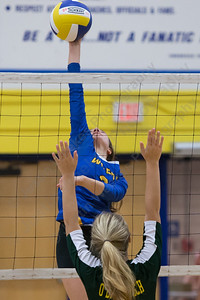 Wilcox Tech's Chloe LaBissoniere sends a kill over the net Wednesday at Wilcox Tech in Meriden  September 27, 2017 | Justin Weekes / For the Record-Journal