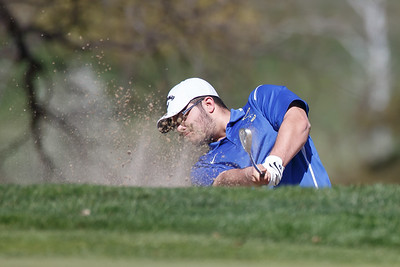 Wilcox Tech's Eric Pellegrino plays out of a green side bunker Tuesday at Hunter Golf Course in Meriden May 1, 2018 | Justin Weekes / Special to the Record-Journal