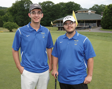 Wilcox Tech's Ryan Pellegrino left and Eric Pellegrino Tuesday at Hunters Golf Club in Meriden June 5, 2018 | Justin Weekes / Special to the Record-Journal