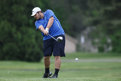 Wilcox Tech's Eric Pellegrino tees off on the tenth hole Wednesday at Hunter Golf Club in Meriden May 16, 2018 | Justin Weekes / Special to the Record-Journal