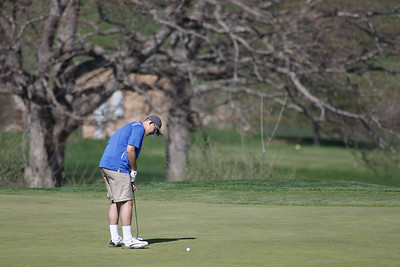 Wilcox Tech's Ryan Pellegrino putts on the first hole Tuesday at Hunter Golf Course in Meriden May 1, 2018 | Justin Weekes / Special to the Record-Journal