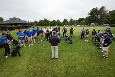 Les Zimmerman welcomes players from Platt, Maloney and Wilcox Tech Wednesday during the Meriden City High School championship sponsored by the Hunters Mens Club at Hunters Golf Club in Meriden  May. 31, 2017 | Justin Weekes / For the Record-Journal