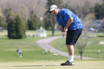 Wilcox Tech's Eric Pellegrino putts on the first green Tuesday at Hunter Golf Course in Meriden May 1, 2018 | Justin Weekes / Special to the Record-Journal