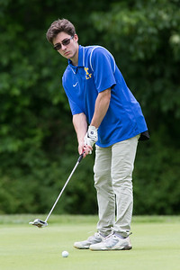 Wilcox Tech's Ryan Mahoney puyys on the 10th green Wednesday during the Meriden City High School championship sponsored by the Hunters Mens Club at Hunters Golf Club in Meriden  May. 31, 2017 | Justin Weekes / For the Record-Journal