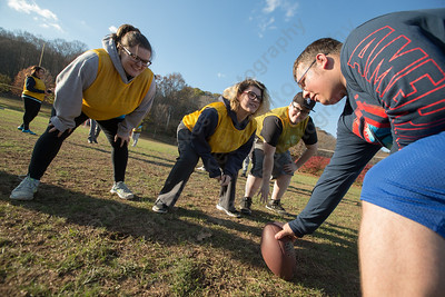 Wilcox Tech's Corinne Laliberte left Catherine Silverman and Lauren Goss line up for the defense Wednesday during Powder Puff practice at Wilcox Tech in Meriden  November 15, 2017 | Justin Weekes / For the Record-Journal