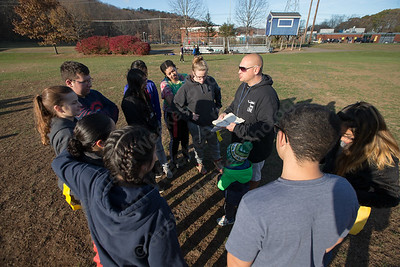 Wilcox Tech's coach Bruce Haney talks with the offense Wednesday during Powder Puff practice at Wilcox Tech in Meriden  November 15, 2017 | Justin Weekes / For the Record-Journal