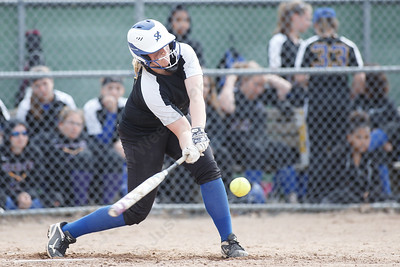 Wilcox Tech's Katie-Rae Gaedeke makes contact Thursday at Dunn Sports Complex in Meriden May 10, 2018 | Justin Weekes / Special to the Record-Journal