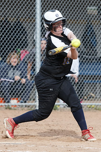 Wilcox Tech's Lexi Durand connects for a hit Tuesday at Platt High School in Meriden April 24, 2018   Justin Weekes / Special to the Record-Journal