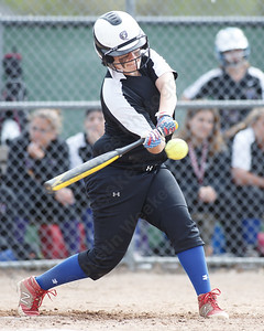 Wilcox Tech's Lexi Durand gets a base hit driving in a run Thursday at Dunn Sports Complex in Meriden May 10, 2018 | Justin Weekes / Special to the Record-Journal