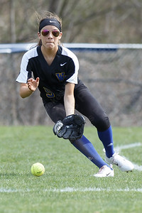 Wilcox Tech's Tatiana Gonzalez fields a ground ball Tuesday at Platt High School in Meriden April 24, 2018 | Justin Weekes / Special to the Record-Journal