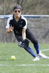 Wilcox Tech's Tatiana Gonzalez fields a ground ball Tuesday at Platt High School in Meriden April 24, 2018   Justin Weekes / Special to the Record-Journal