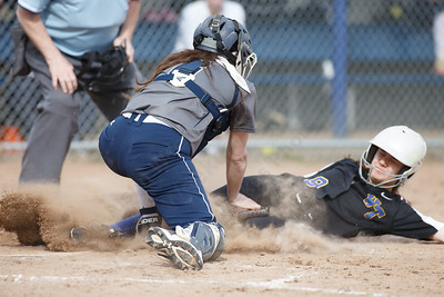 Platt's Alexandria Gill tags out Wilcox Tech's Chloe LaBissoniere at home Tuesday at Platt High School in Meriden April 24, 2018   Justin Weekes / Special to the Record-Journal
