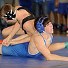 135 lbs.  Dave Heitman of Mahwah (top) pinned Hawthorne's Andrew Arroyo, 3:32.<br /> PHOTO: KELLY BIRDSEYE