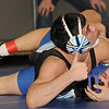 160 lbs.   Ryan Sblendorio of  Mahwah (top) looks up at the referee before pinning Hawthorne's Kevin Aguirre, 1:33.<br /> PHOTO: KELLY BIRDSEYE