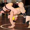 1-19-2010...130 lbs...Ridgewood's Ryan Giovanetti (top) has the advantage in his 7-1 win over Enrique Romero of  Bogota/Weehawken.<br /> PHOTO: KELLY BIRDSEYE