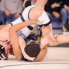 1-27-2010...135 lbs...Zach Zotollo of Paramus (top) is close to pinning Diego Rodriguez of Hackensack in 1:01<br /> PHOTO: KELLY BIRDSEYE