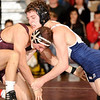 2-20-2010...140 lbs...Nick Alpher (right) of  Paramus won the District 5 championship tussle by a 3-2 decision over Sal Mastriani of Don Bosco.<br /> PHOTO: KELLY BIRDSEYE