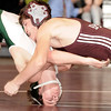 2-20-2010...130 lbs...Don Bosco's James Dawson (top) battles Joe Nacco of Ramapo before capturing the District 5 title by a pin with 15 seconds left in the contest.<br /> PHOTO: KELLY BIRDSEYE