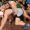2-20-2010...171 lbs...Ramapo's Victor Kipiani (top) won a close 3-1 battle by defeating Ryan Walker of Mahwah in overtime of the District 5 championships.<br /> PHOTO: KELLY BIRDSEYE