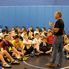 Mahwah High School wrestling coach Dave Heitman talking to wrestlers who attended  the fourth day of his instruction clinic by college wrestlers and coaches. On the fourth day, three Lehigh College coaches and three Lehigh College wrestlers were on hand to teach moves.<br /> PHOTO: KELLY BIRDSEYE